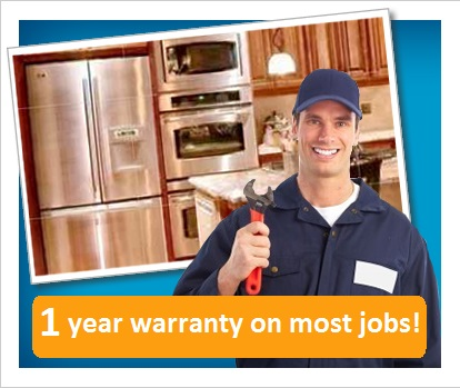 repairman holding wrench| kitchen with appliances in background| 1 year warranty offer