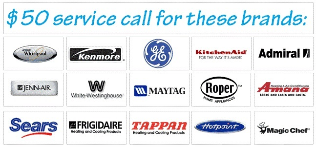 Whirlpool, Maytag, Frigidaire, Magic chef, Kitchen aid, Amana, Roper, Americana, Hotpoint, GE, Electrolux, Tappan, Admiral